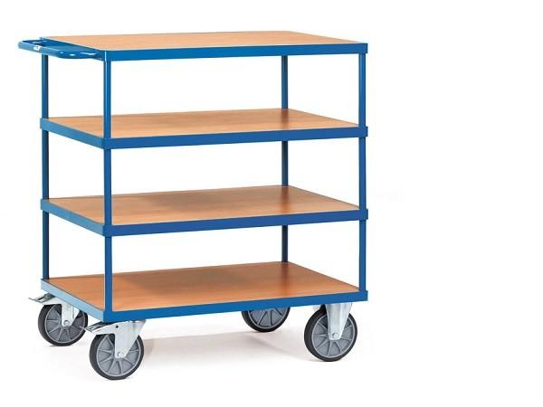 Der schwere Tischwagen aus dem Hause Fetra eignet sich perfekt um viele kleine Lasten sicher zu transportieren oder zu lagern.