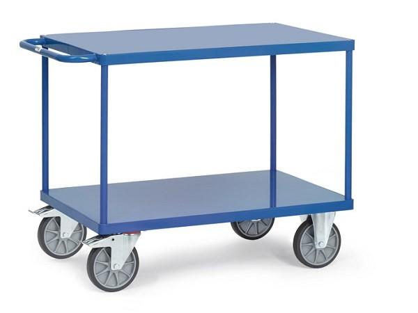 Der robuste Tischwagen mit Stahlblech-Böden kann Lasten bis zu 600 kg tragen.