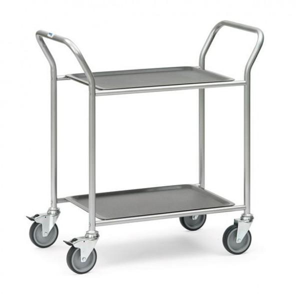 Dieser Servierwagen besitzt 2 Etagen und kann bis zu 60 kg tragen.