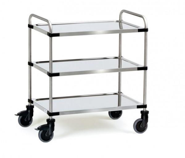 Die Edelstahlwagen besitzen 3 Etagen worauf viele verschiedene Gegenstände transportiert werden können.
