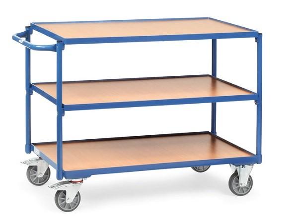 Der Tischwagen besitzt ingesamt 3 Ladeflaechen. Auf der mittleren und oberen Flaeche können Lasten bis maximal 80 kg transportiert werden.