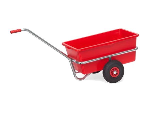 Der praktische Handwagen besitzt einen 90 Liter Kunststoffkasten.