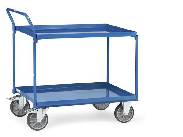 Der Tischwagen mit 2 Wannen eignet sich sehr gut um Lasten sicher von A nach B zu fahren.