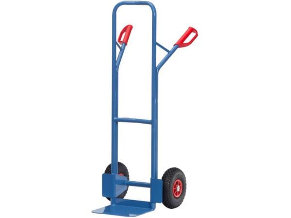 Dank der stabilen Schweißkonstruktion kann dieser Stahlkarren schwere Lasten bis 300 kg transportieren.