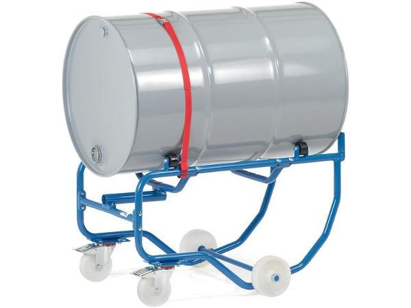 Der fahrbare Fasskipper dient zum Transport und zur Entleerung von 200-Liter-Stahlfässer.