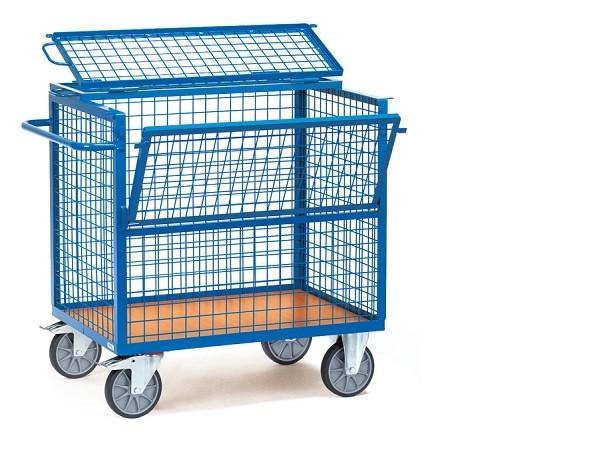 Der Drahtkastenwagen mit Deckel ist geeignet um schwere oder unhandliche Lasten zu transportieren.
