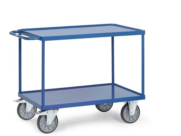 Der Tischwagen besitzt 2 Stahlblechwannen mit einen 10 mm hohen Rand.