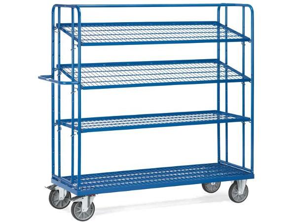 Der Etagenwagen mit Drahtgitter-Böden kann bis zu 500 kg an Last tragen.