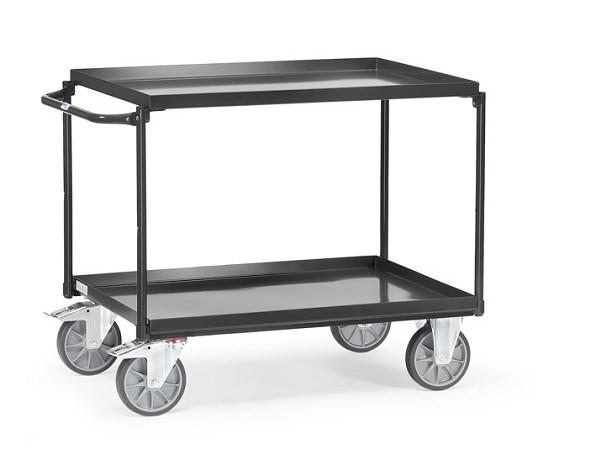 """Der Tischwagen """"Grey Edition"""" ist aus pulverbeschichteten Stahl und kann Lasten bis 400 kg tragen."""