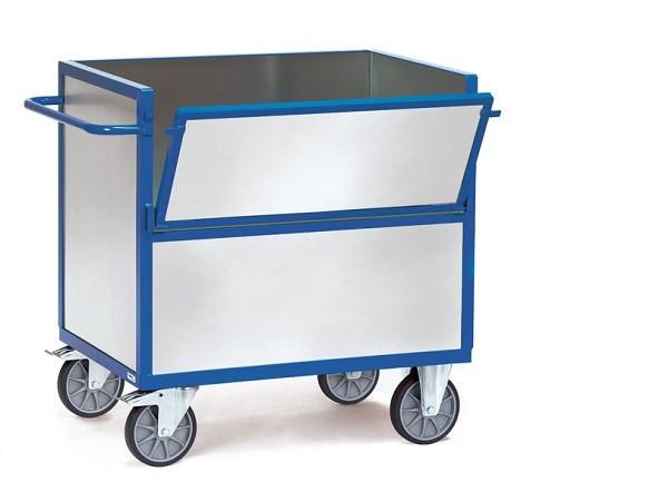 Der Blechkastenwagen besteht im Grundgerüst aus pulverbeschichteten Stahlblech und die Wände sind aus verzinktem Stahlblech.