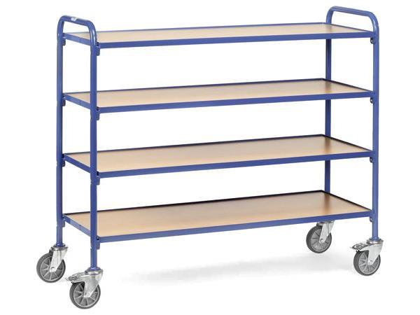 Der sehr breite Beistellwagen bietet viel Platz für Lasten bis insgesamt 250 kg.