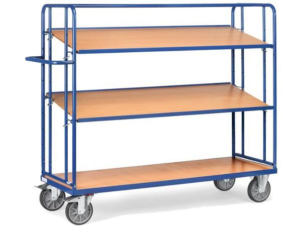 Dieser Etagenwagen besitzt 1 festen und 2 lose Etagen. Die mittlere und obere Etage kann jeweils bis zu 80 kg tragen.
