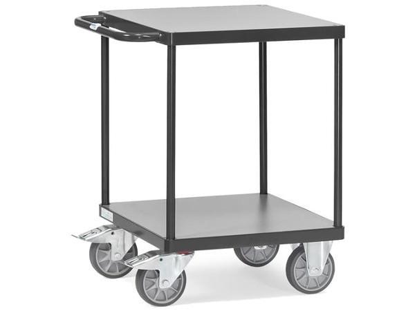 Der quadratische Tischwagen Grey Edition eignet sich zum Transport von Lasten bis 500 kg.