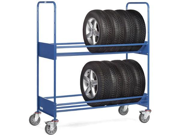 Der robuste Reifenwagen kann Reifen und Räder bis ingesamt 250 kg tragen.
