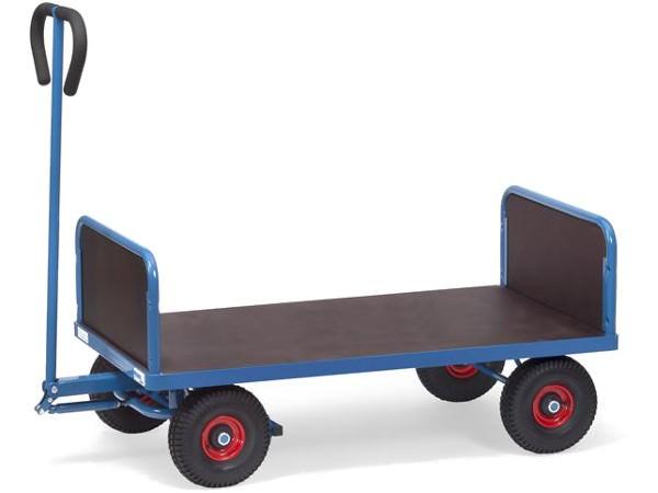 Der praktische Handwagen besitzt zwei 300 mm hohe Stirnwände.