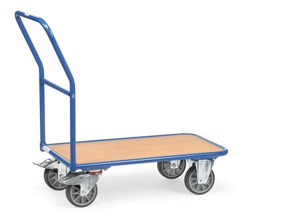 Der Magazinwagen aus Stahl kann schwere Lasten bis 400 kg sicher und kraftsparend transportieren.