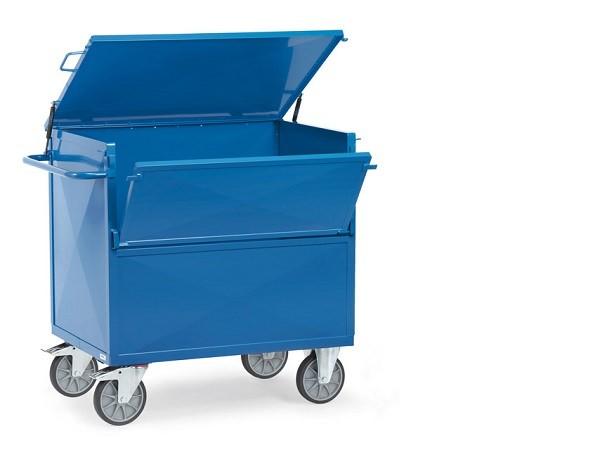 Der Kastenwagen mit Deckel ermöglicht einen einfachen Transport von Lasten bis 600 kg.