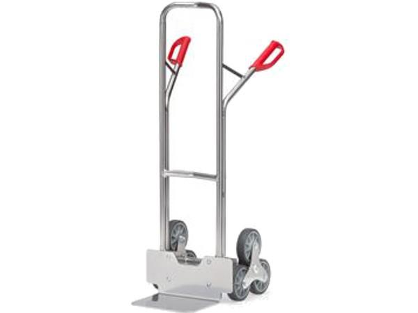 Die robuste Treppenkarre aus Alu kann bis zu 200 kg Last tragen.