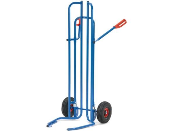 Der Reifenkarren kann bis zu 8 Räder oder Reifen (Durchmesser 450 bis 750 mm) aufnehmen.