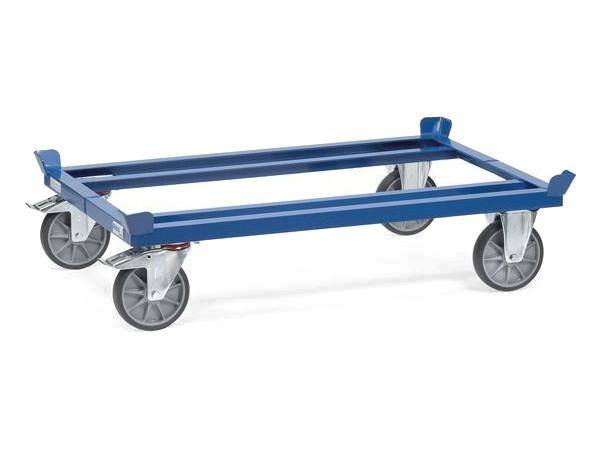 Der robuste Palettenwagen kann Lasten bis 750 kg tragen.