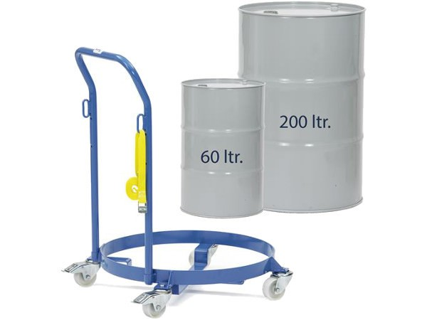 Der Fassroller 13600 kann 60 oder 200 Liter Fässer in aufrechter Position transportieren.