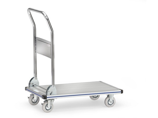 Der praktische Plattformwagen aus Alu dient zum Transport von Lasten bis 150 kg.