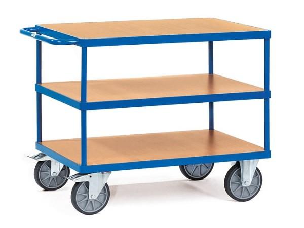 Der Tischwagen mit 3 Etagen eignet sich super um schwere Bauteile, Werkzeuge oder andere Materialien zu transportieren.