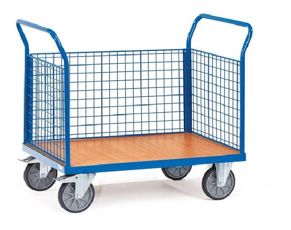 Mithilfe des Dreiwandwagens von Fetra lassen sich schwere Lasten (Werkzeuge, Kisten usw.) sicher und schnell transportieren.