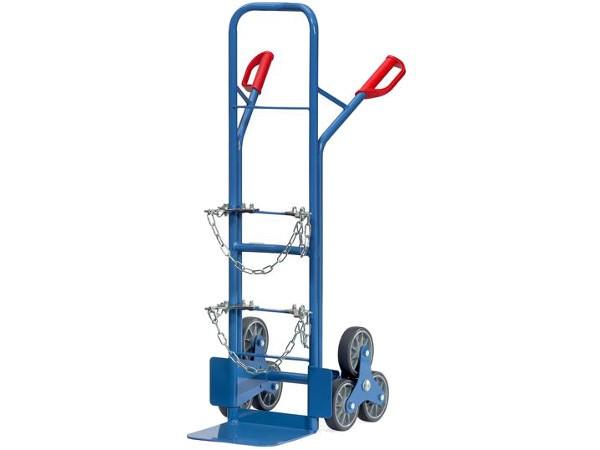 Speziell für den Transport von Stahlflaschen über Treppen wurde dieser Karren entwickelt.