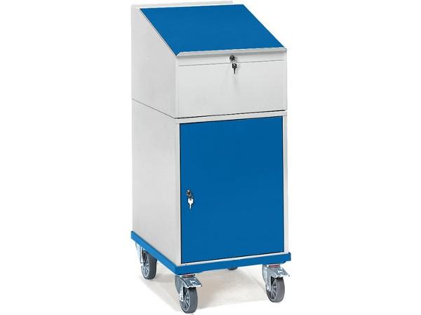 Der Rollschrank mit Schreibpult-Aufsatz kann perfekt als mobiles Pult genutzt werden.