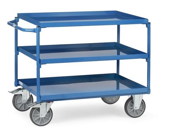 Der Tischwagen mit 3 Wannen ist optimal wenn schwere Lasten bis 400 kg von A nach B verladen werden müssen.