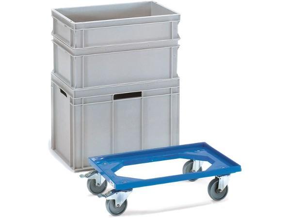 Dieser Eurokasten-Roller besteht aus Kunststoff und kann Lasten bis 250 kg tragen.