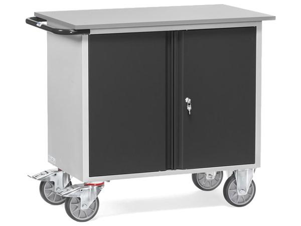 Der Stahlblech-Werkstattwagen ist konzipiert um Lasten bis zu 400 kg mit nur wenig Kraftaufwand zu transportieren.