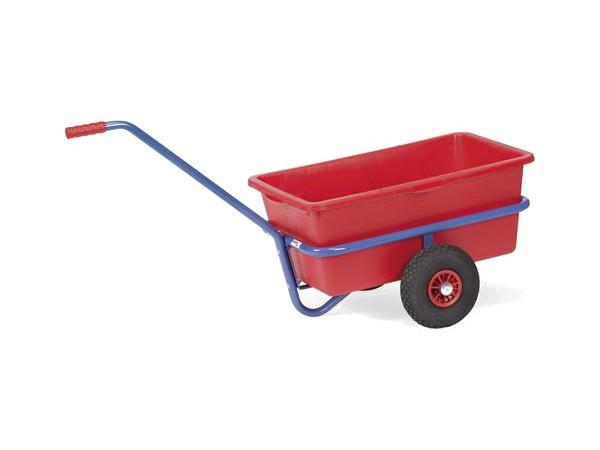 Der leichte und handliche Handwagen besitzt einen Kunststoffkasten.