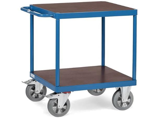 Der quadratische Tischwagen besitzt zwei wasserfeste Siebdruckplatten.