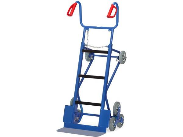 Die Gerätekarre ermöglicht den Transport von schweren Maschinen über Treppen.