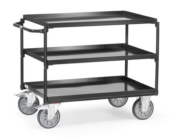 """Der stabile Tischwagen """"Grey Edition"""" zeichnet sich durch seine 3 Stahlwannen aus - diese können Lasten von insgesamt 400 kg tragen."""