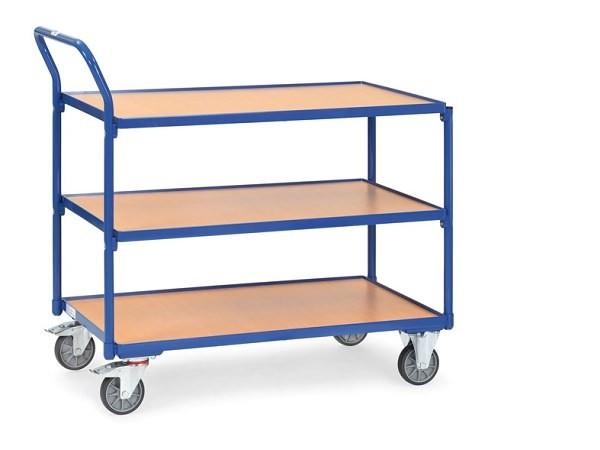 Der leichte Tischwagen aus dem Hause Fetra kann Lasten bis zu 300 kg problemlos aushalten.