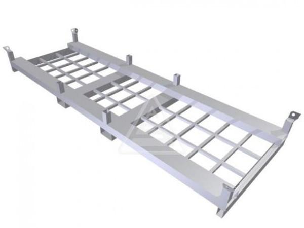 Die robuste Traverse kann dank der Gabelöffnungen problemlos mit einen Gabelstapler transportiert werden.