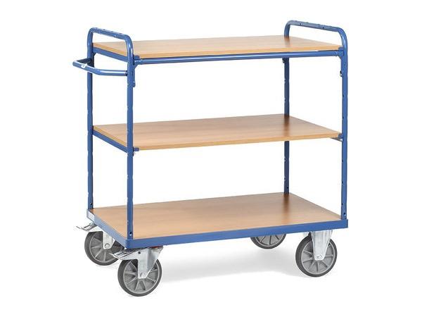Der praktische Etagenwagen besitzt 3 Ladeflaechen und kann bis zu 500 kg tragen.
