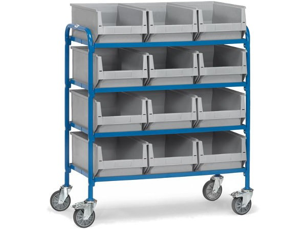 Der robuste Beistellwagen kann bis zu 12 Lagerkästen aufnehmen.