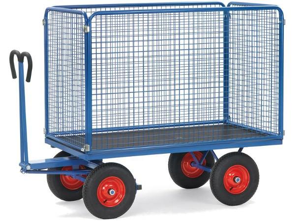 Der robuste Transportwagen ist mit 2 festen Stirnwänden und 2 losen Seitenwänden ausgestattet.