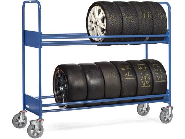 Der verstärkte Reifenwagen kann schwere Reifen auf 2 Etagen tragen.
