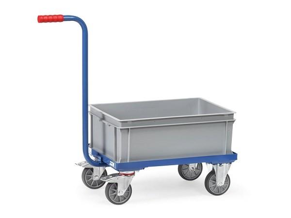 Der Griffroller mit offenen Rahmen eignet sich perfekt um Lasten in Kunststoffkästen zu transportieren. Die abgebildete Kiste ist im Preis inklusive.