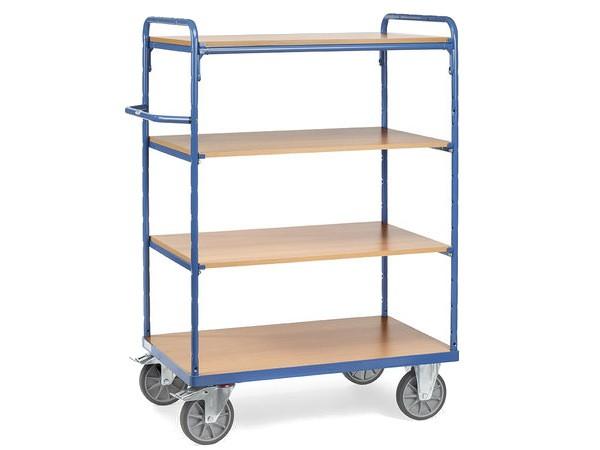 Der fetra Etagenwagen ist mit insgesamt 4 Böden ausgestattet und kann insgesamt bis zu 600 kg tragen.