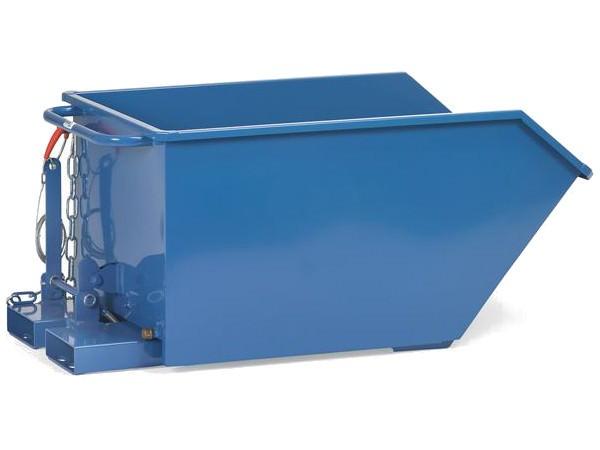 Der Kippbehälter kann bis zu 750 Liter bzw. 1.000 kg tragen.