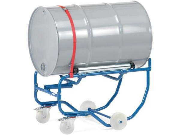Der Fasskipper ist mit 2 seitlichen Stahlrollen ausgestattet - dank dieser Rollen ist das Drehen von dünnwändigen Fässern besonders einfach.
