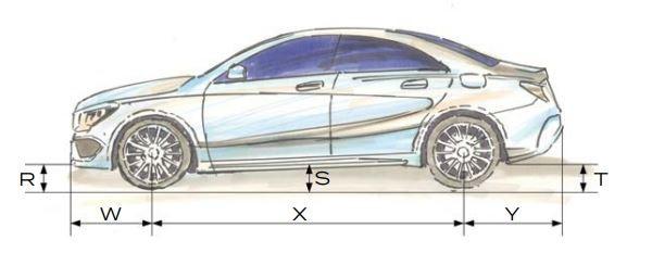 Laengenbestimmung einer Auffahrrampe fuer ein Fahrzeug mit geringer Bodenfreiheit.