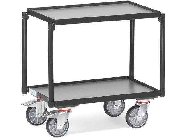 Der Etagenroller Greyedition ohne Schiebebügel kann schwere Gegenstände sicher und einfach transportieren.