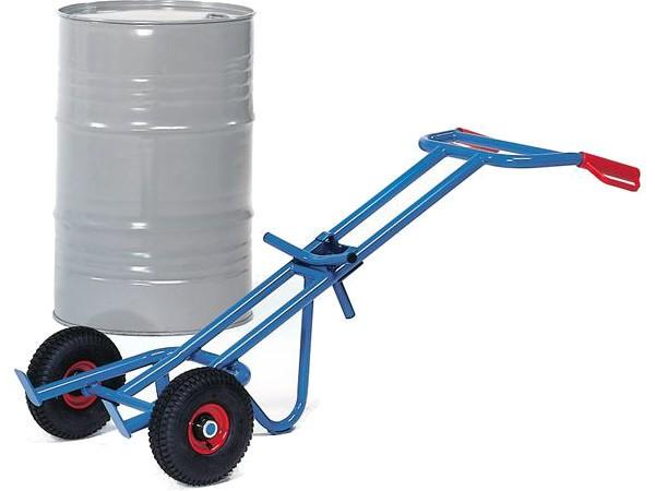 Der Fasskarren aus Stahl ermöglicht eine Tragkraft bis zu 300 kg.